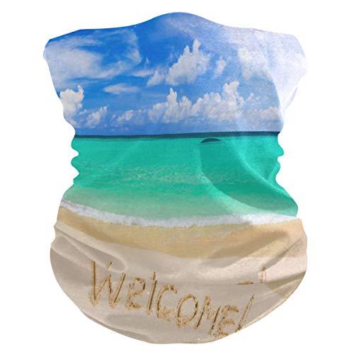 QMIN Bandeau Bienvenue Océan Mer Plage Bandana Visage Soleil Protection Masque Cagoule Masque Cagoule pour Femmes Hommes Garçons Filles