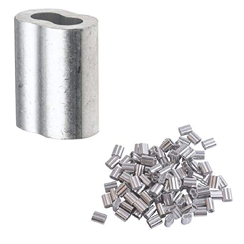 Accessbuy 50 Pack Aluminum Crimping Loop Sleeve for 3/16