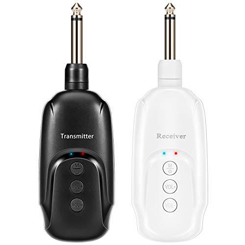 Vintoney Transmitter Sistema di Chitarra Wireless Trasmettitore e Ricevitore Wireless Chitarra con Ricaricabile per Chitarra Elettrica e Basso Elettrico
