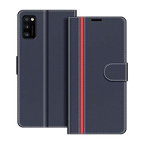 COODIO Handyhülle für Samsung Galaxy A41 Handy Hülle, Samsung Galaxy A41 Hülle Leder Handytasche für Samsung Galaxy A41 Klapphülle Tasche, Dunkel Blau/Rot