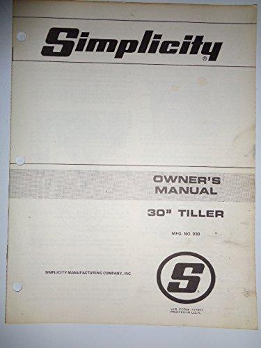 Simplicity Mfg. No. 930, 30' Tiller (for Lawn Tractors) Parts, Operators Owners Manual Original 177867