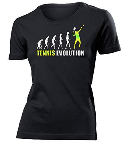 Tennis Evolution 576 Sport Fan Shirt Tshirt Fanartikel Fanshirt Frauen turniershirt Shop Sportbekleidung Damen T-Shirts Schwarz XL