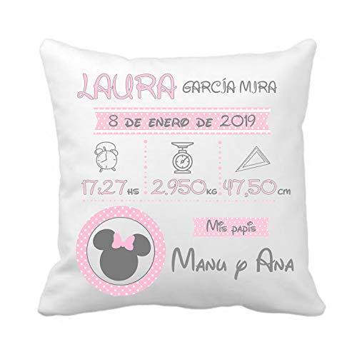 Kembilove Cojín Natalicio Minnie Personalizado para Bebes – Cojín Natalicio con Nombre y Datos del Bebe – Cojín Natalicio para recién Nacidos – Cojines para Bebes – Regalo Original