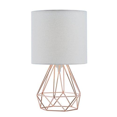 Sfeomi Lámpara de Mesa Diamante E27 Lampara para Mesillas de Noche Max 60W Lampara de Mesita de Noche Vintage 40cm Lámpara de Mesa Contemporáneas en Forma de Diamante (Dorado Rosa)