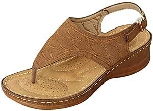 Aniywn T-Strap Wedge Sandals for Women,Summer Comfort Flat Sandals Ankle Strap Platform Slip On Sandals Walking Shoes Brown