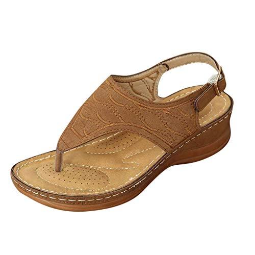 Aniywn T-Strap Wedge Sandals for Women Summer Comfort Flat Sandals Ankle Strap Platform Slip On Sandals Walking Shoes Brown