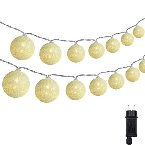 Cotton Ball Lichterkette, DeepDream 4.5m 20 LED Kugeln Lichterkette Innen Lichterkette Baumwollkugeln Lichterkette mit Stecker für Kinderzimmer, Schlafzimmer, Hochzeit, Party, Festival (Warmweiß)