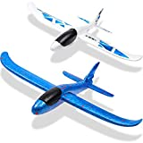 WATINC 2Pcs 20in Airplane, Manual Throwing, Fun, challenging, Outdoor Sports Toy, Model Foam Airplane, Blue & White Airplane (WT-Foam Airplane 2Pcs)