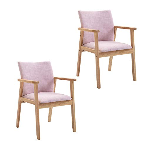 Gflyme Upholstered Dining Chairs with Wooden Legs,Retro Lounge Chair,Solid Wood Oak Legs Padded Seat,for Kitchen Dining Room Living Room Bedroom Lounge Leisure -Pink