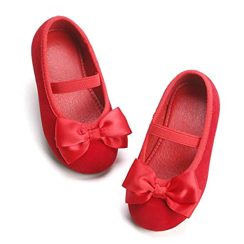 Bear Mall Girls' Shoes Girl's Ballerina Flat Shoes Mary Jane Dress Shoes (Little/Toddler Girls Shoes/Big Kids)(12 Little Kid, Red)