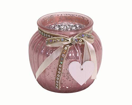 Werner Voß - Portavelas de cristal con corazón de madera (11,5 x 10,5 cm), color rosa