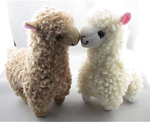 MEKBOK 2pcs Cute Alpaca Plush Toy Camel Cream Llama Stuffed Animal Kids Doll 23cm Height