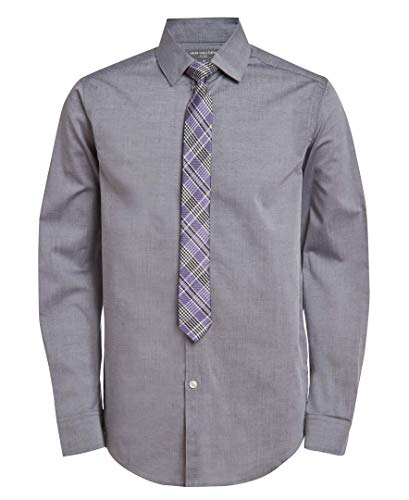 Van Heusen Boys' Big Long Sleeve Dress Shirt and Tie Set, Wild Grey, 10-12