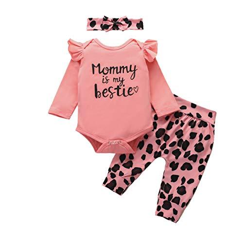 Geagodelia - Conjunto de 3 piezas para bebé de manga larga con letras + pantalones de leopardo + banda para el pelo de bebé Rosa 0-6 Meses