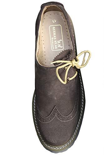 German Wear Haferlschuhe Trachtenschuhe Brogue Original-Handmachart, Schuhgröße:42, Farbe:Dunkelbraun