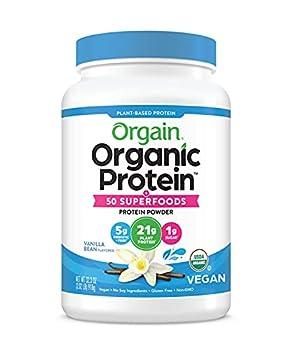 Orgain Organic Plant Based Protein + Superfoods Powder Vanilla Bean - Vegan Non Dairy Lactose Free No Sugar Added Gluten Free Soy Free Non-GMO 2.02 lb