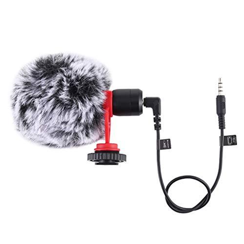 freneci Micrófono de Teléfono Móvil/Cámara de 3,5 Mm Grabación de Video Micrófono Estéreo de Puntero Supercardioide para Tabletas de Teléfonos Inteligentes