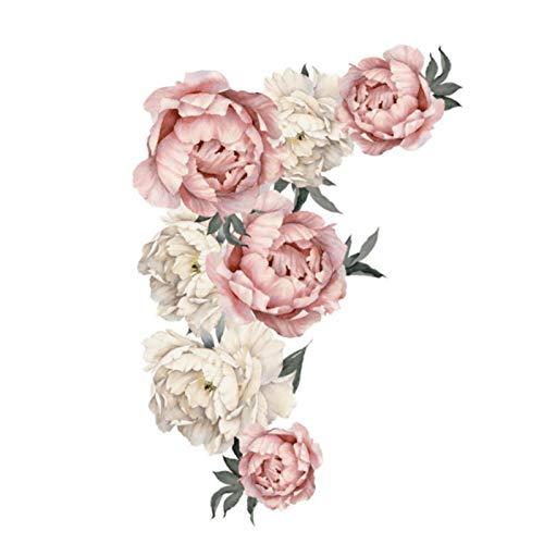 Omabeta Peonía patrón de Flores Pegatinas de Pared Apliques de Arte decoración de Dormitorio Pegatina de Fondo para Sala de Estar Oficina en casa Escuela 40x60cm