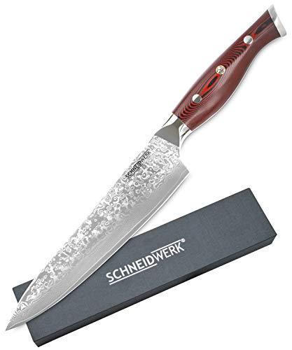 SCHNEIDWERK Chef-Messer Premium G10 Griff Rot Damastmesser, Küchenmesser 20 cm Klingenlänge, 67 Lagen Edelstahl-Damast, sehr scharfes Kochmesser aus Damaststahl, Damaszener-Stahl Rostfrei TE-Serie