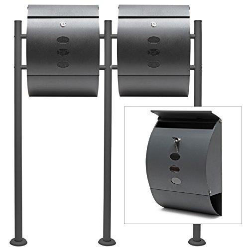 Briefkasten Set Wandbriefkasten V18 Anthrazit pulverbeschichtet Doppelt