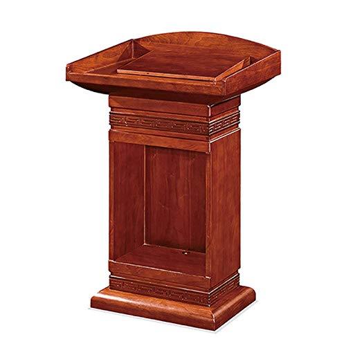 JIAGU Escritorio de pie compacto para lectura de madera con cajón y gran área de almacenamiento, podio para conferencias, podio comercial resistente (color: marrón, tamaño: 76 x 51 x 115 cm)