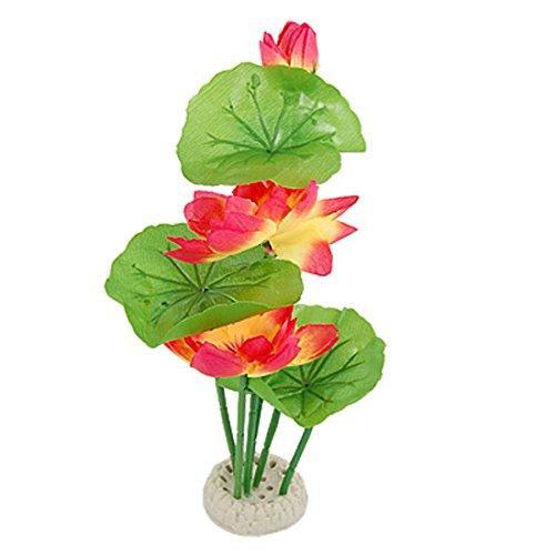 uxcell Lotuspflanze für Aquarien, Kunststoff, 30,5 cm, Rot/Gelb/Grün