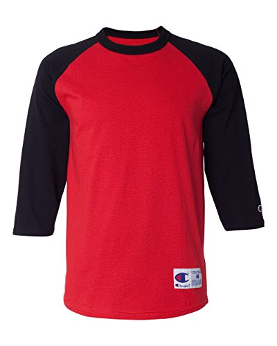 Champion Camiseta de béisbol raglán para Hombre, Escarlata/Negro, Medium