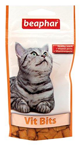BEAPHAR – Friandises Vit-Bits pour chat, enrichies en vitamines – Aliment complémentaire – Contient de la Taurine – Apporte bien-être et vitalité – Sachet refermable avec Zip – 35 g