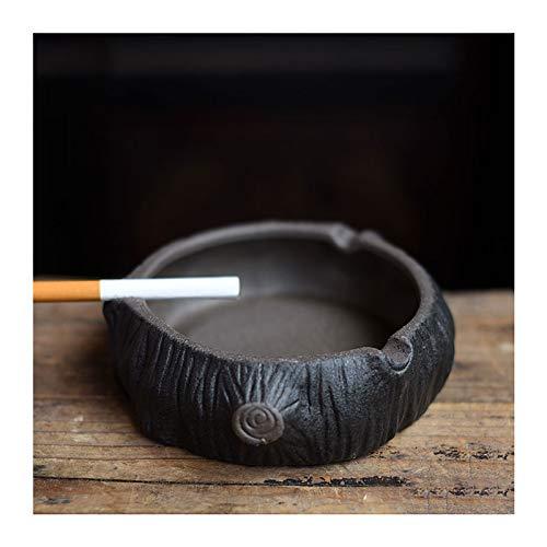 LFJY Retro Cenicero Maceta,Negro Cenicero de cerámica,Artesanía cenicero de Cigarrillos,para la decoración...