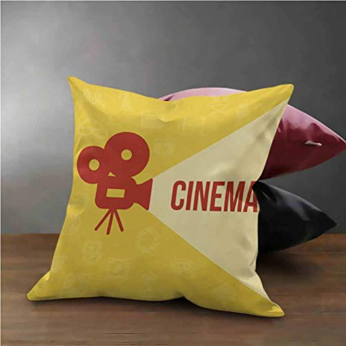 Lowest Prices! HouseLook Movie Theater Office Pillow Case Projector Silhouette with Cinema Quote Mov...