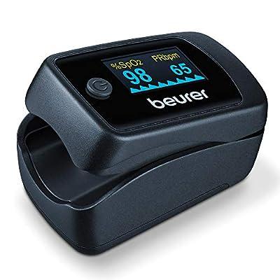 Beurer PO 45 Pulsioxímetro, medición de la saturación de oxígeno (SpO2), la frecuencia cardíaca (pulso) y el índice de perfusión (PI), uso indoloro, pantalla en color