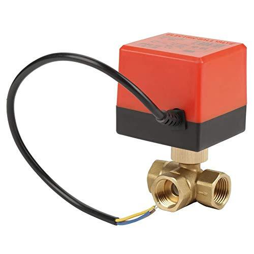 OGUAN Válvula eléctrica, Válvula de bola eléctrica, Brass motorizado Válvula de bola de G1 eléctrica / 2 pulgadas DN15 3 válvula de paso 220VAC for el aire acondicionado del sistema Sistemas de fontan