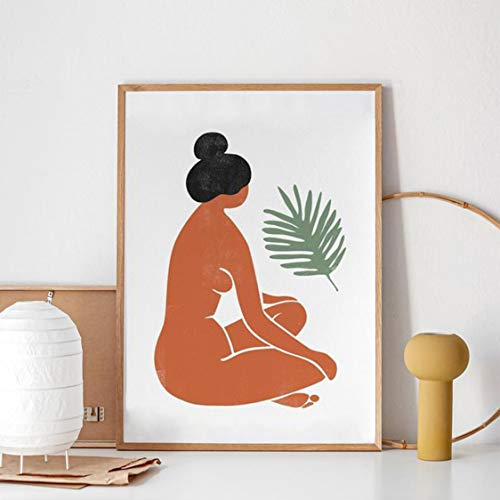 Danjiao Frau Figur Tropical Leaf Print Weibliche Akt Illustration Poster Burnt Orange Terrakotta Kunst Leinwand Malerei Home Wall Decor Wohnzimmer 60x90cm