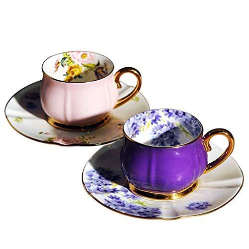 MUTANG Europäische Bone China Kaffeetasse Home High-Grade Bone China Paar Cup 2 Cup 2 Disc Set Kreative Amerikanische Espressotasse