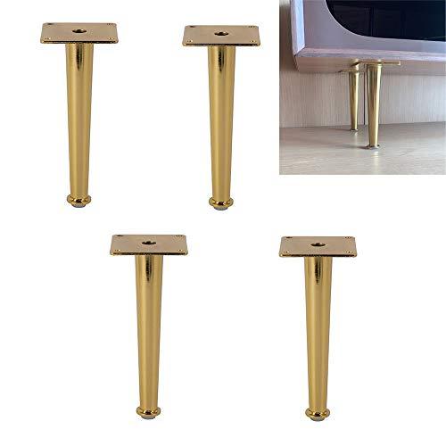 HLMBQ Gold Eisen Möbelfüße, Metall Chrom poliert, Moderne Sofabein, Schränke, DIY Hardware-Zubehör, Last 500kg, gerade Kegel/schräge Kegel, 4St