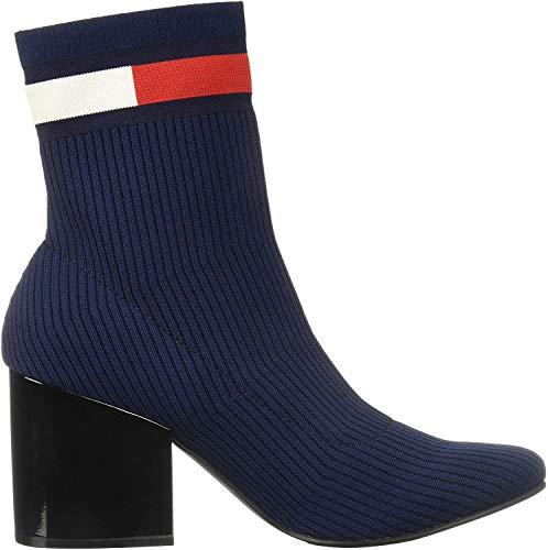 Tommy Hilfiger Flag Sock Mid Heel Boot, Botines para Mujer, Azul (Tommy Navy Cbk), 39 EU