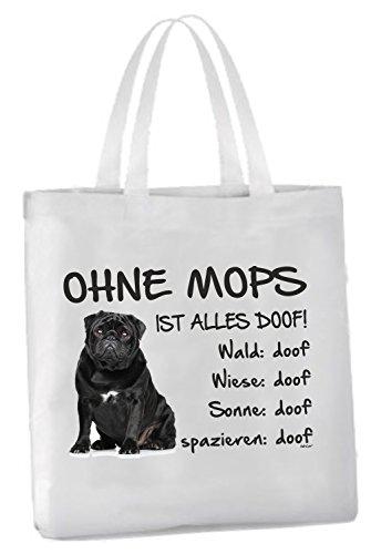 AdriLeo Einkaufstasche Ohne Mops ist Alles doof! (Schwarzes Fell)