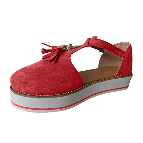 Beonzale Sommer Modetrend Frauen einfarbige Quaste runde Zehen Flip-Flops Flache Pumps dickere untere Schnalle Riemen Freizeit Strandschuhe Freizeitschuhe Schuhe