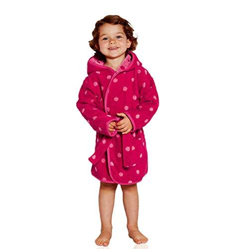 etérea Timitama Kinder Baby Bademantel Morgenmantel für Jungs und Mädchen, Langer Kapuzen Bademantel mit Tasche und Pink Rosa Punkte Muster - Größe 114 cm (5-6 Jahre)