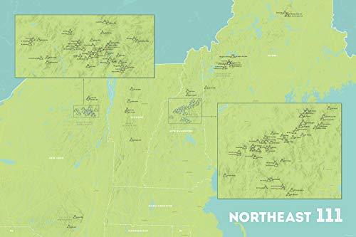 Best Maps Ever Northeast 111 4000 Footers Map 24x36 Poster (Green & Aqua)
