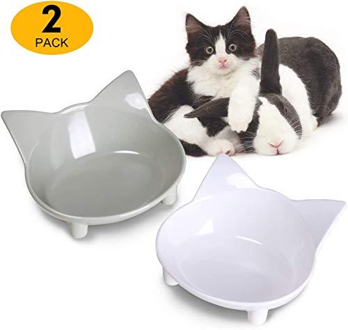 HOODIE Dos Cuencos para Mascotas, Gatos y cachorros2 Piezas Cuenco para Mascotas Cuenco De Comida para Gatos Cuenco De Agua Linda del Perro De La Forma del Gato