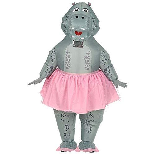 Widmann 10131373 Aufblasbares Hippo Ballerina Kostüm, Unisex– Erwachsene, Grau