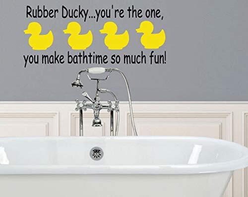 Gummi-Ente You You The One Aufkleber – Vinyl-Wandaufkleber für Badezimmer, Badewanne, Whirlpool, Tubby, Spaß, Kinder Bert und Ernie leicht anzubringen und zu entfernen