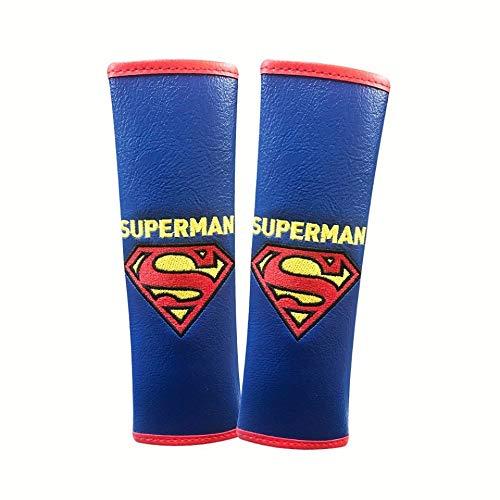 Superman Marvel Seat Belt Covers (Pair) Premium Faux Leather PVC