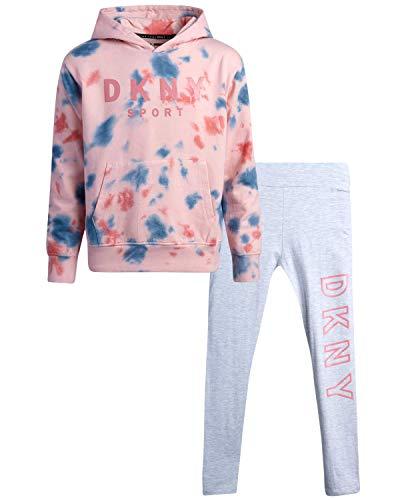 DKNY Girls' Leggings Set - 2 Piece Fleece Pullover Sweatshirt and Stretch Leggings, Size 10, Pink Tie Dye