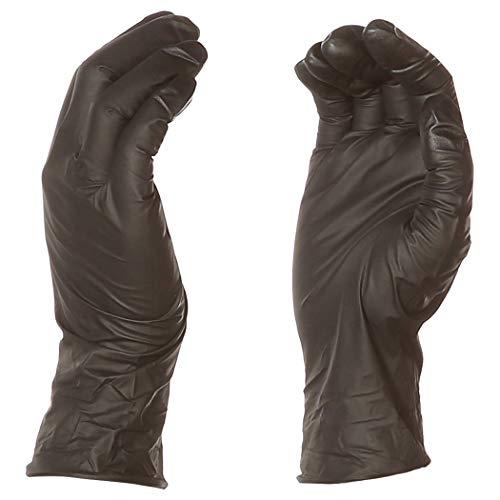 AmazonBasics - Einmal-Handschuhe, Nitril, puderfrei, 0,152 mm, Schwarz, Größe L, 100 Stück pro Packung, 1 Packung