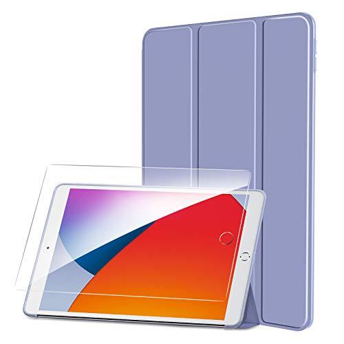 SmartDevil Custodia per iPad 10.2 2019/2020 + Vetro Temperato, Leggero Sottile Custodia per iPad 8 Generazione/Custodia per iPad 7 Generazione con Auto Sveglia/Sonno, Smart Cover per iPad 10.2 Viola
