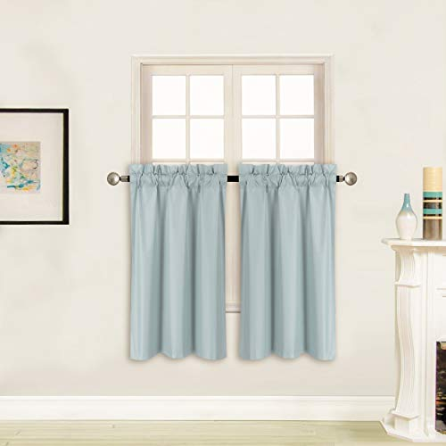 """Better Home Style 100% Blackout 2 Tiers Window Treatment CurtainInsulated Drapes Short Panels for Kitchen Bathroom Basement, RV or ANY Small Window M3036 (Sky / Light Blue, 2 Panels 28""""W X 36""""L Each)"""