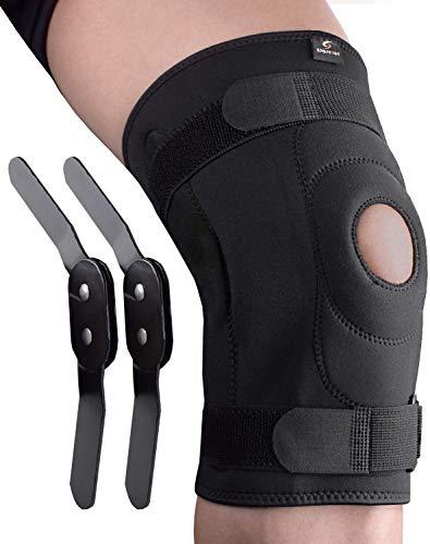 Sportout Kniebandage, mit abnehmbare Aluminiumscharniere Kniestütze, Knieschoner, perfekt für Meniskusriss, ACL, Zerrungen, Kniebeschwerden,Arthritis, Damen und Herren(XL)