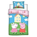 Peppa Pig - Juego de ropa de cama infantil (reversible, funda de almohada de 40 x 60 cm, funda nórdica de 100 x 135 cm, 100% algodón)